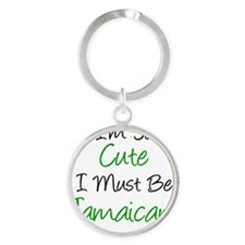 So Cute Must Be Jamaican Round Keychain