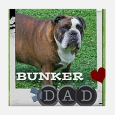 English bulldog and dad Tile Coaster