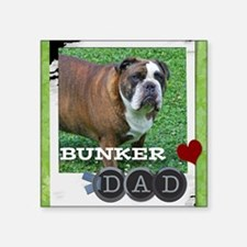 "English bulldog and dad Square Sticker 3"" x 3"""