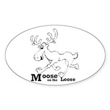 Moose On The Loose Oval Decal