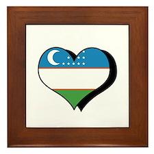I Love Uzbekistan Framed Tile
