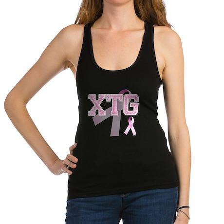 XTG initials, Pink Ribbon, Racerback Tank Top