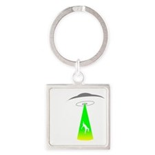 Alien-Abduction1 Square Keychain