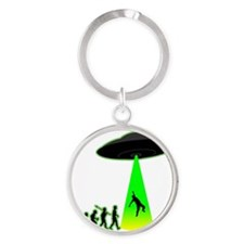 Alien-Abduction4 Round Keychain