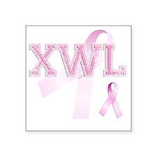"""XWL initials, Pink Ribbon, Square Sticker 3"""" x 3"""""""