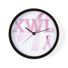 XWL initials, Pink Ribbon, Wall Clock