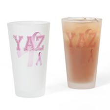 YAZ initials, Pink Ribbon, Drinking Glass