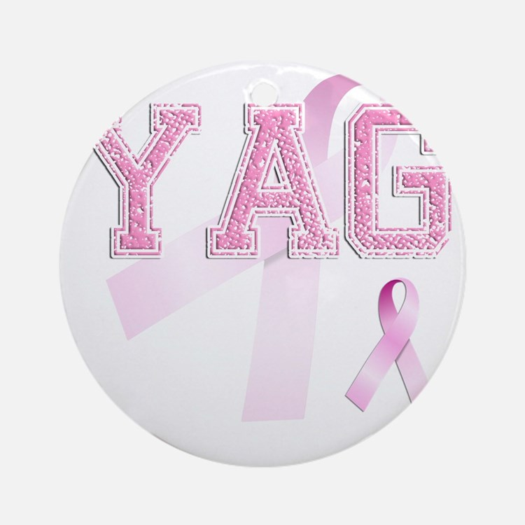 YAG initials, Pink Ribbon, Round Ornament