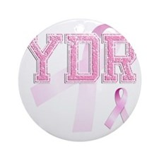 YDR initials, Pink Ribbon, Round Ornament