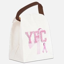 YFC initials, Pink Ribbon, Canvas Lunch Bag