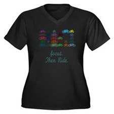 Focus. Then  Women's Plus Size Dark V-Neck T-Shirt
