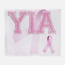 YIA initials, Pink Ribbon, Throw Blanket