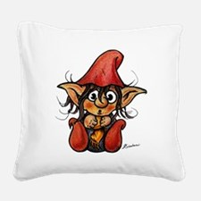 Cute Winter Trollelf With Yel Square Canvas Pillow