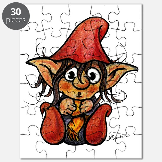 Cute Winter Trollelf With Yellow Scarf and  Puzzle