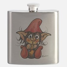 Cute Winter Trollelf With Yellow Scarf and R Flask
