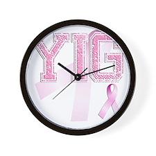 YIG initials, Pink Ribbon, Wall Clock