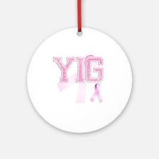 YIG initials, Pink Ribbon, Round Ornament