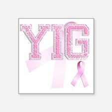 "YIG initials, Pink Ribbon, Square Sticker 3"" x 3"""