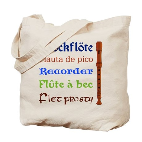Multilingual Recorder Tote Bag, two sided printing