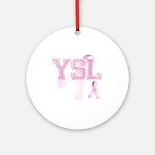 YSL initials, Pink Ribbon, Round Ornament