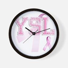 YSL initials, Pink Ribbon, Wall Clock