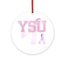YSU initials, Pink Ribbon, Round Ornament