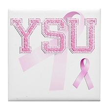 YSU initials, Pink Ribbon, Tile Coaster