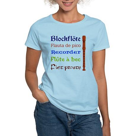 Multilingual Recorder Women's Light T-Shirt