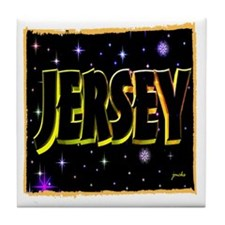 jersey holiday wear  illustration art Tile Coaster
