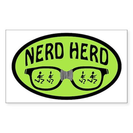 Nerd Herd Glasses Oval Green Sticker (Rectangle)