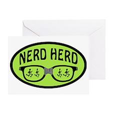 Nerd Herd Glasses Oval Green Greeting Card