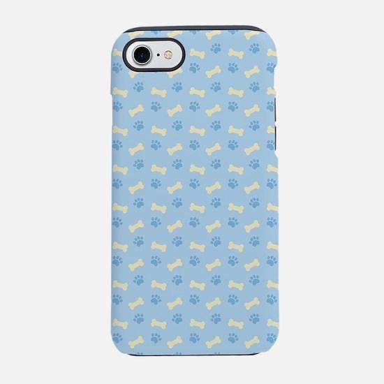 Blue Paw Print Bone Pattern iPhone 7 Tough Case