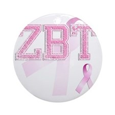 ZBT initials, Pink Ribbon, Round Ornament