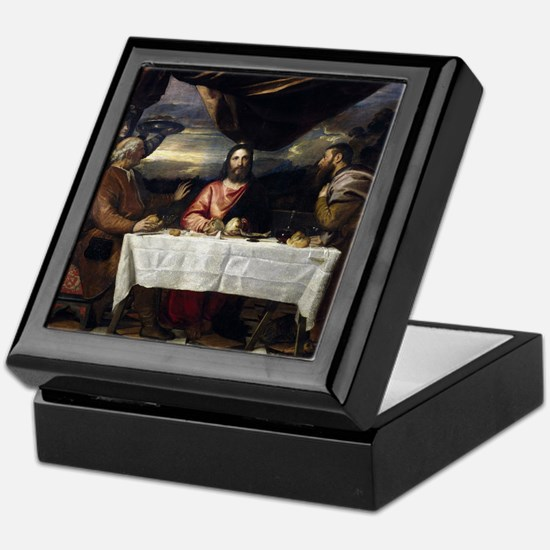 Supper of Emmaus - Titian - c1545 Keepsake Box
