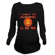 blk_evil_smiley_good Long Sleeve Maternity T-Shirt