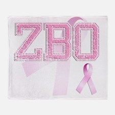 ZBO initials, Pink Ribbon, Throw Blanket