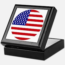 Round USA Independence Day Flag Keepsake Box