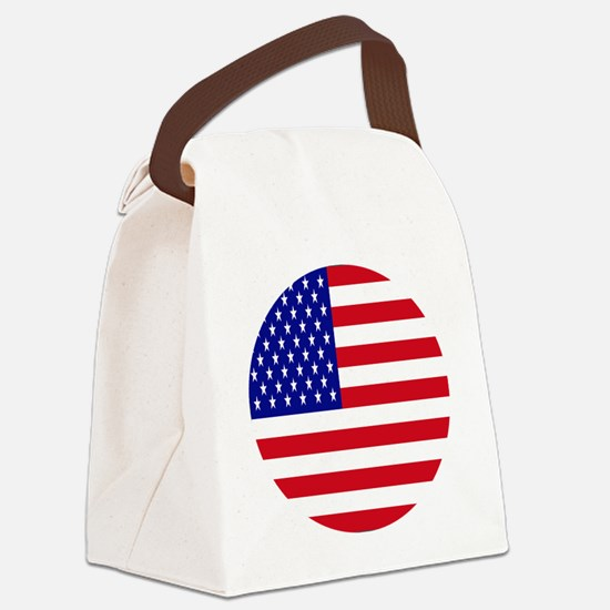 Round USA Independence Day Flag Canvas Lunch Bag