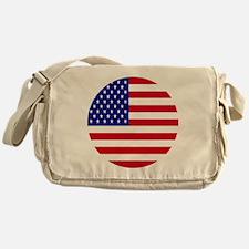 Round USA Independence Day Flag Messenger Bag