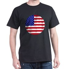Round USA Independence Day Flag T-Shirt