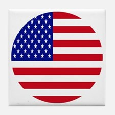 Round USA Independence Day Flag Tile Coaster