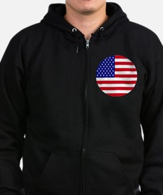 Round USA Independence Day Flag Zip Hoodie