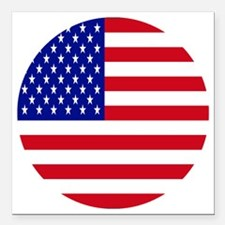 """Round USA Independence D Square Car Magnet 3"""" x 3"""""""