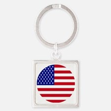 Round USA Independence Day Flag Square Keychain