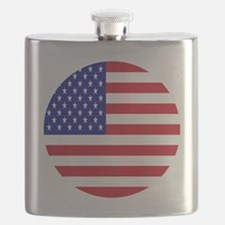 Round USA Independence Day Flag Flask