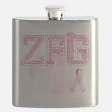 ZFG initials, Pink Ribbon, Flask
