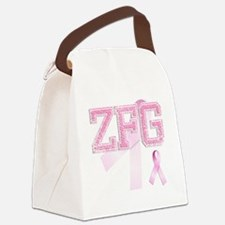 ZFG initials, Pink Ribbon, Canvas Lunch Bag