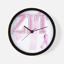 ZIT initials, Pink Ribbon, Wall Clock