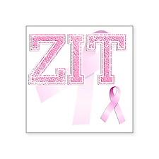 """ZIT initials, Pink Ribbon, Square Sticker 3"""" x 3"""""""