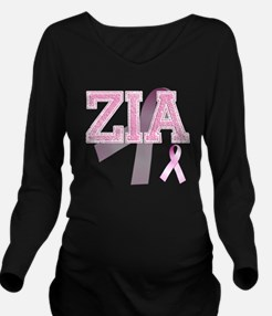 ZIA initials, Pink R Long Sleeve Maternity T-Shirt